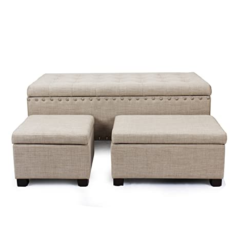 Magnificent Asense Fabric Rectangle Button Tufted Lift Top Storage Ottoman Bench Footstool With Solid Wood Legs Nailhead Trim Set Of 3 Beige Fabric Theyellowbook Wood Chair Design Ideas Theyellowbookinfo