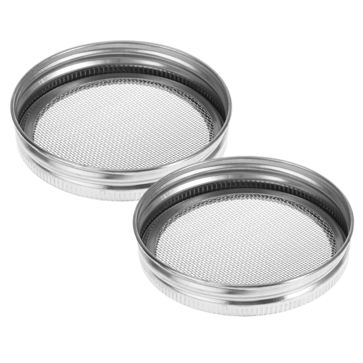 Besto Nzon 2-Pack Stainless Steel Sprouting Lid for Round Mouth Canning Jars and Seeds Screen (Silver) BESTONZON