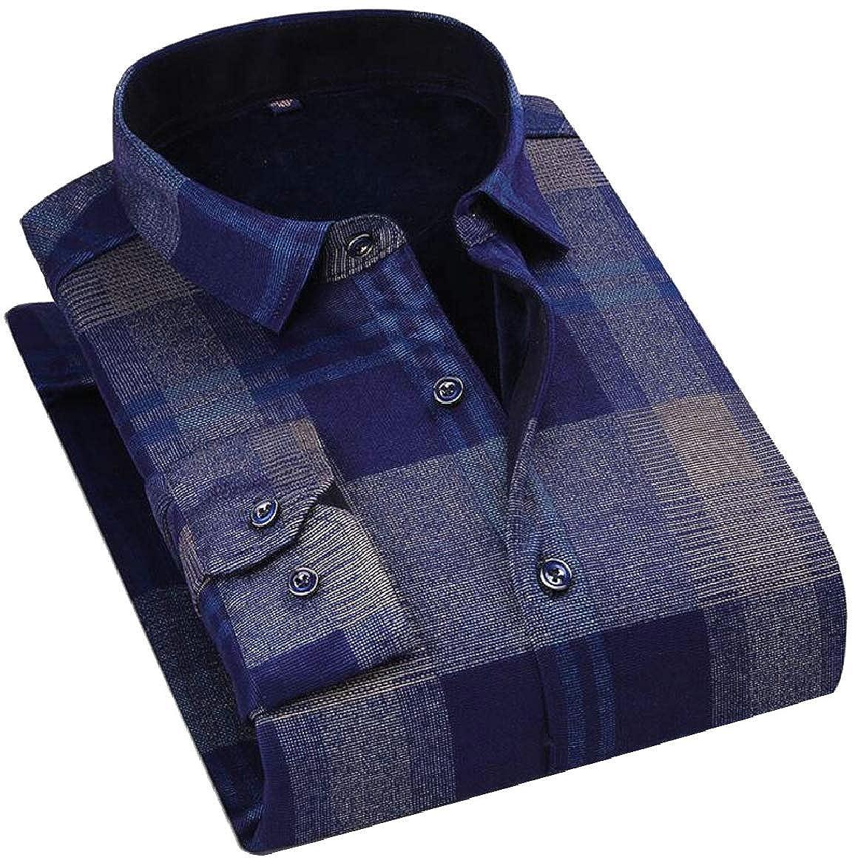pujingge Mens Shirts Long Sleeve Classic Slim Plaid Button Down Shirt