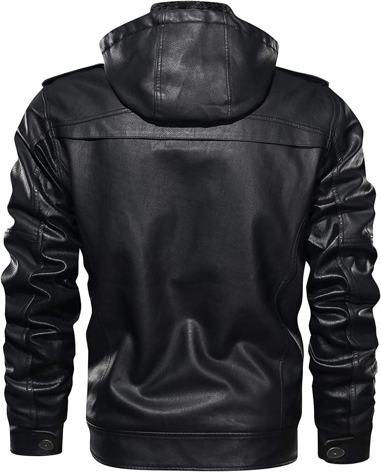HOOD CREW Men/'s Zip Up Slim Faux Leather Motorcycle Bomber Black Brown Jacket with a Removable Hood
