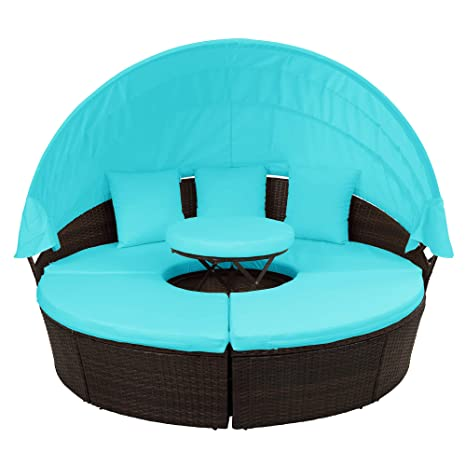 Pleasing Flieks Outdoor Patio Round Daybed Furniture With Retractable Canopy And Coffee Table Wicker Rattan Sofa Set Waterproof Cushions Backyard Lawn Garden Spiritservingveterans Wood Chair Design Ideas Spiritservingveteransorg