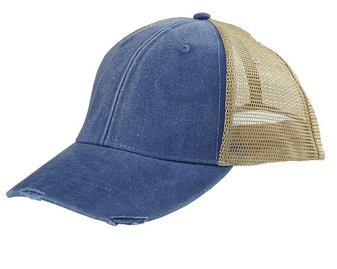 93743c1f1 Monogrammed Distressed Trucker Hat Royal Blue at Amazon Women's ...