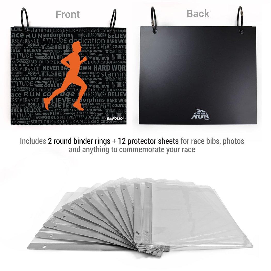 Gone For a Run BibFOLIO Race Bib Album | Bib Holder Running Inspiration Male | Black/Orange by Gone For a Run (Image #2)