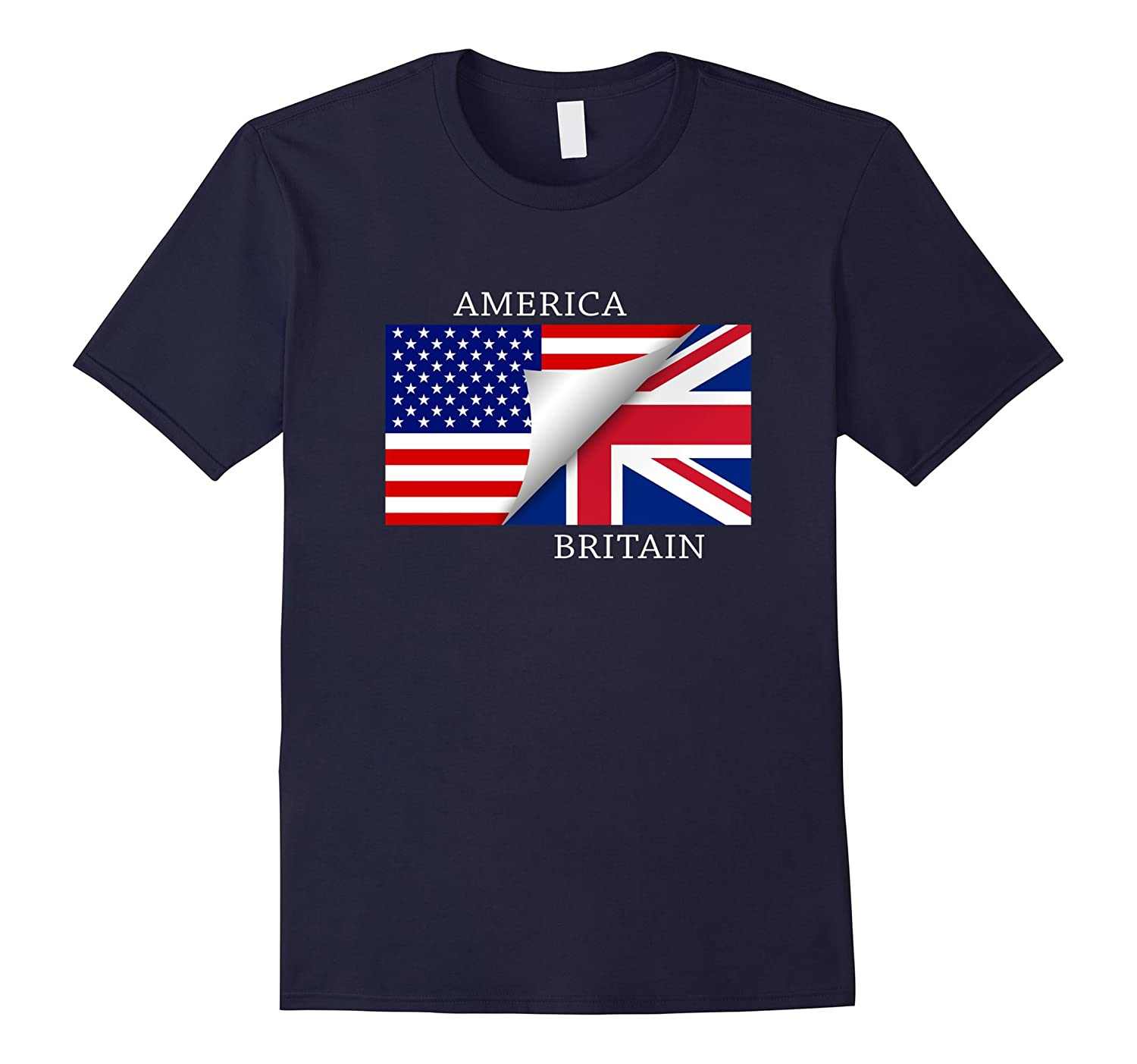 British American Flag T-Shirt Great Gift Tee-Art