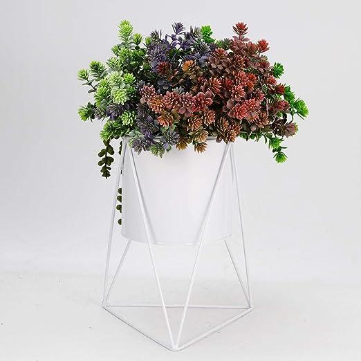 1 Kit Blanc Jardin Céramique de bureau à Plante Succulente pot de fleur avec métal support