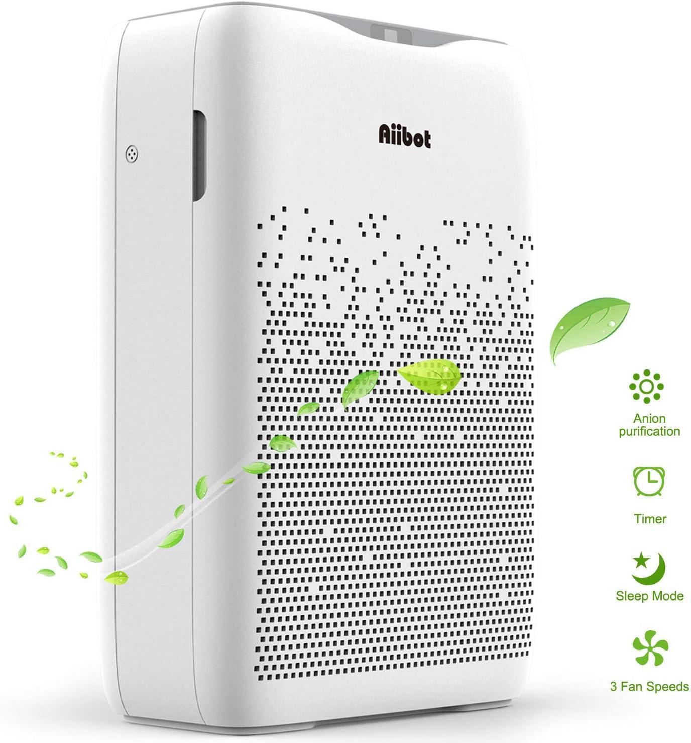 Aiibot Purificador de Aire con Flitro Cuádruple de HEPA y Carbón Activado para 99,97% Polvo/Olor/Pelos Animales/Humo/Alérgenos en Aire, Función de Temporizador, 4 Velocidades de Viento.