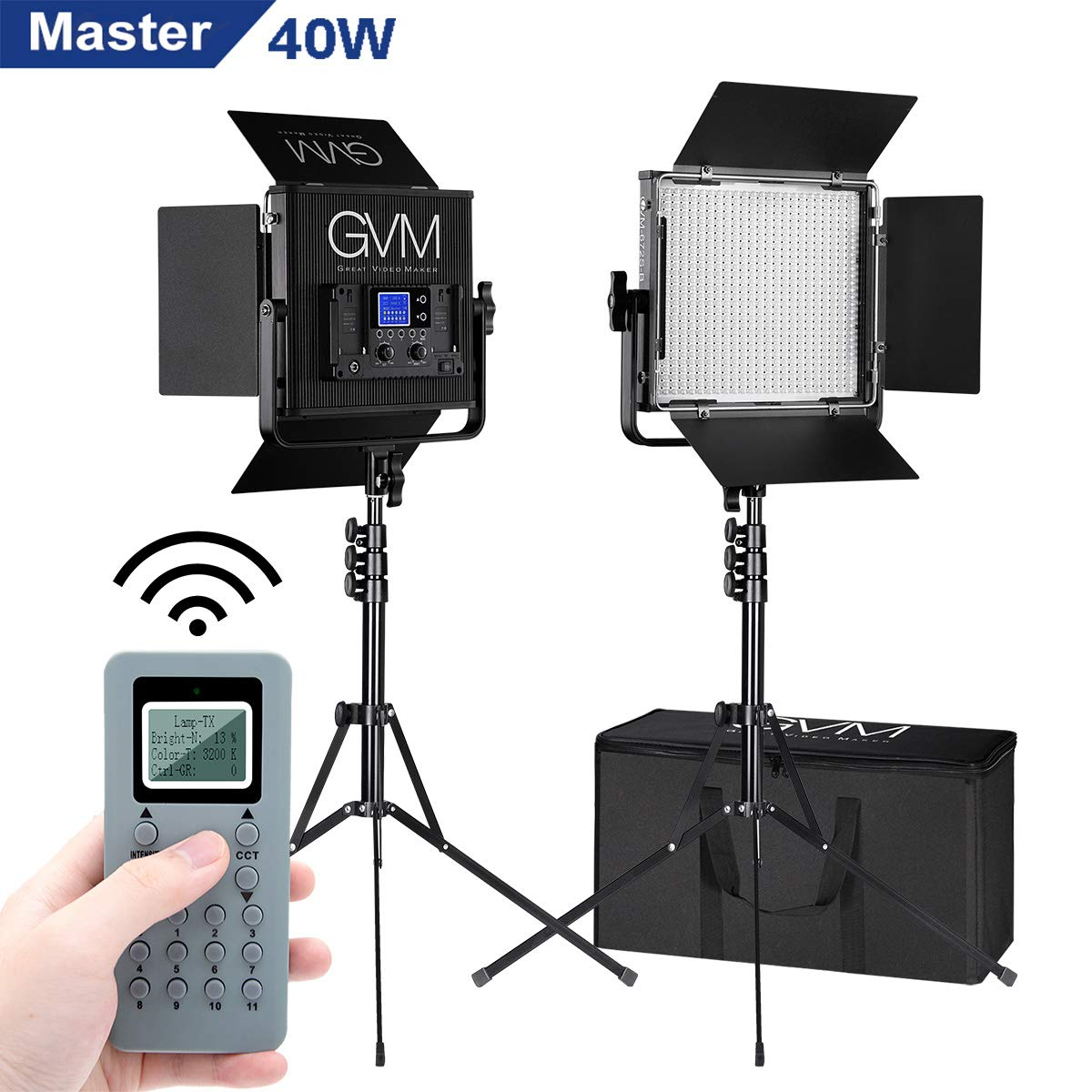 GVM 672S Master Series LED Video Lighting Kit with Stand and Wireless Intelligent Remote Control CRI97 Dimmable 3200K-5600K Video Lights for YouTube Studio Photography Outdoor Video Shooting (2 Pack) by GVM Great Video Maker