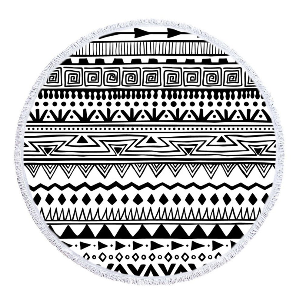 LIPOR Handcraft Round Beach Towel, Bohemia Boho Indian Black and White Stripe Pattern,Thick Round Beach Towel Tapestry Blanket Yoga Mat With Tassels 60 inches