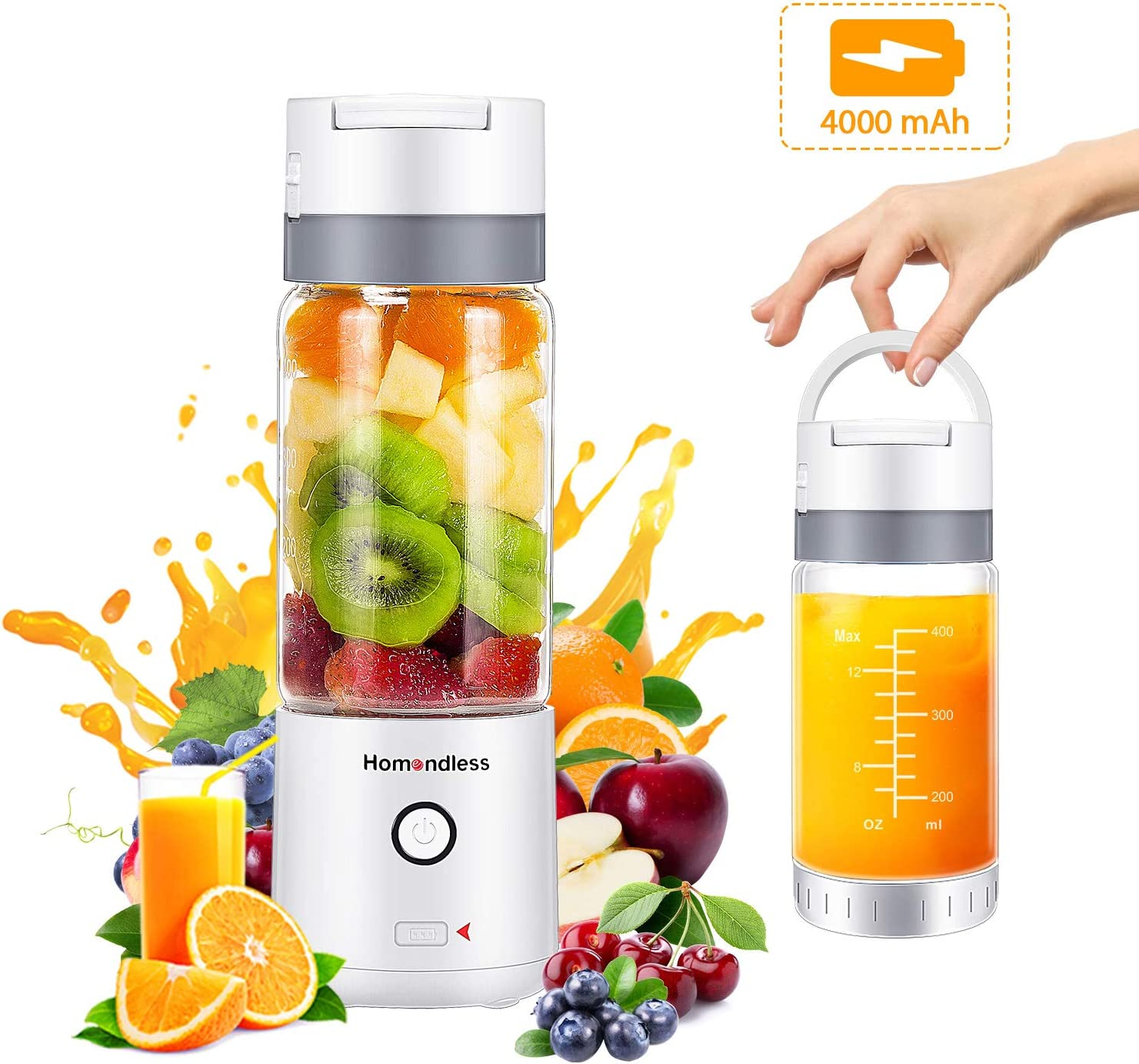 Portable Blender, Personal Smoothie Blender with Vacuum Cap, 4000 mAh Rechargeable Batteries 7.4V Strong Power, 14oz Glass Cup, 4 Blades Juicer Mixer for Office Gym Outdoors Travel FDA Certificated