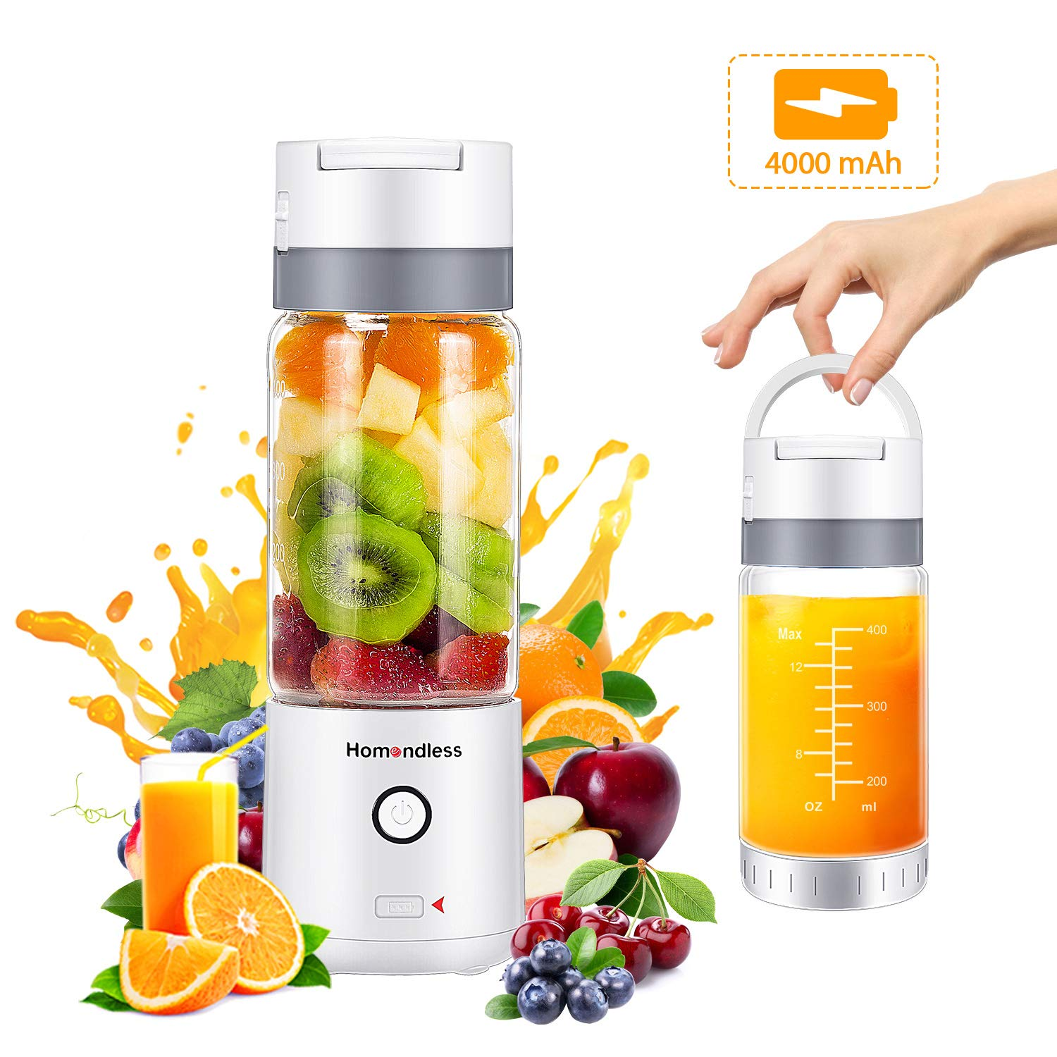 Portable Blender, Personal Smoothie Blender with Vacuum Cap, 4000 mAh Rechargeable Batteries 7.4V Strong Power, 14oz Glass Cup, 4 Blades Juicer Mixer for Office/Gym/Outdoors/Travel (FDA Certificated) by Homendless