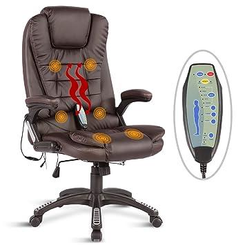 UEnjoy Fauteuil Chaise De Bureau Massage Electrique Marron PU Dos Lombaires Cuisses