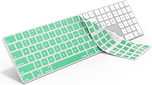 Kuzy - Mint Green Keyboard Cover for Apple Magic Keyboard with Numeric Keypad Model: A1843 - Wireless Bluetooth (Newest Version) Skin Silicone for iMac - Mint Green