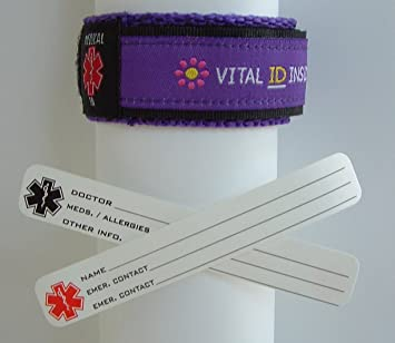 Child / Kids Vital ID Wristband - Medical Emergency & Identity Purple Flowers UKTeT56a7