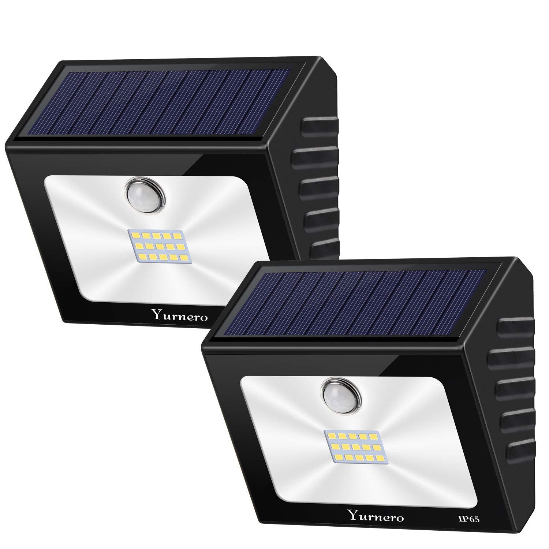 Solar Lights Outdoor Motion Sensor Yurnero Super Bright LED Solar Powered Flood Lights with Nanomaterial Reflector for Step Deck Backyard Front Door Waterproof 2 Pack