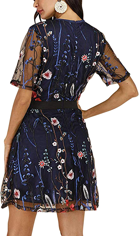 De feuilles Sommer Damen Kurzarm Kleider mit Blumen Stickerei elegant Partykleider Cocktailkleid T/üllkleider Knielang Gef/üttert hinten Reissverschluss A-Linien