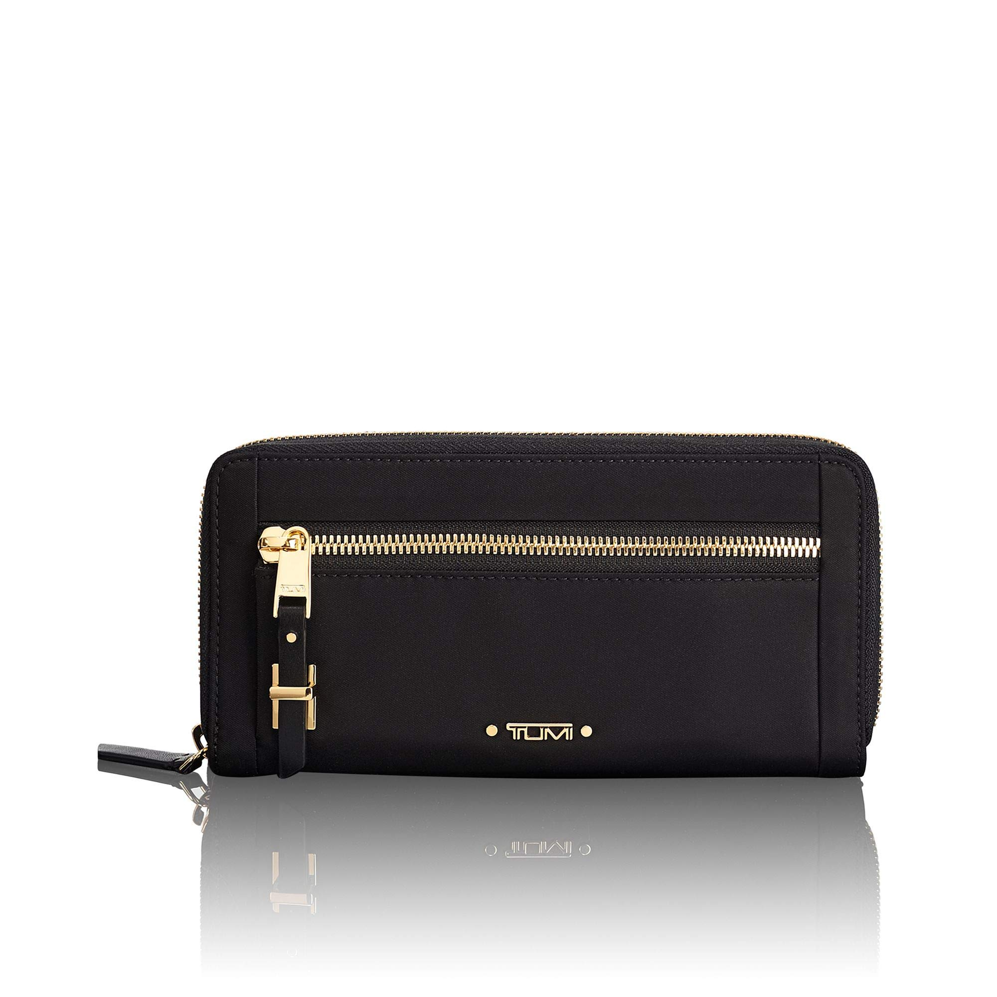 TUMI Voyageur Zip-Around Continental Wallet Card Holder for Women,Black