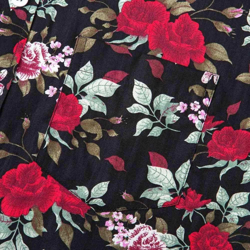XI PENG Mens Hawaiian Shirt Floral Print Casual Cotton Button Down Short Sleeves Aloha Beach Shirt