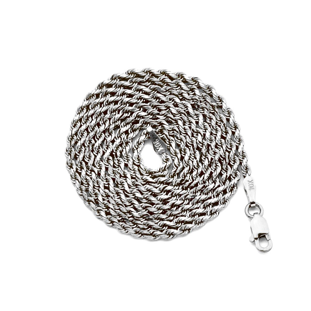 LoveBling 10K White Gold 2mm Diamond Cut Hollow Rope Chain Necklace with Lobster Lock (18'') by LOVEBLING