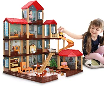 Temi DIY 11-Room Pretty Dollhouse Kit