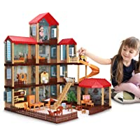TEMI Dollhouse DIY Pretty Dreamhouse Kit Decorations w/ Furniture, Accessories, Doll Action Figure and Movable Stairs…