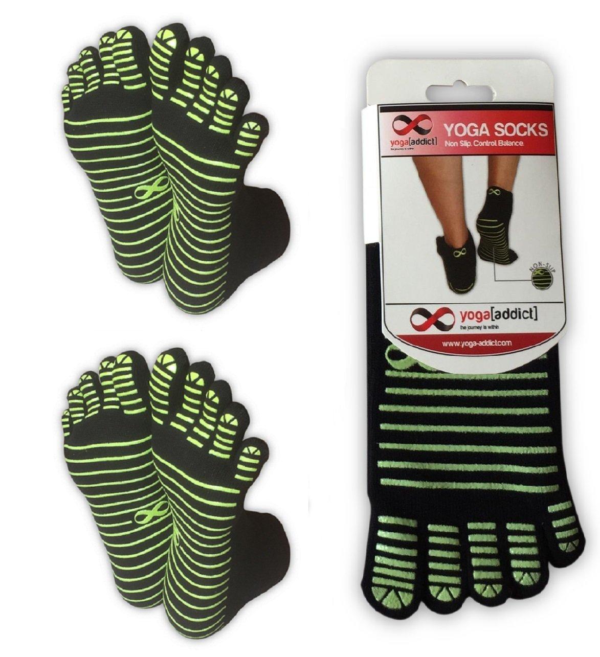 Fitness Home Use Non Slip Anti Skid Grip Socks, For Women /& Men Barre YogaAddict Yoga Pilates Full Toe Socks 1 or 2 Pairs Set Choose Your Colours Trampoline Workout Dance