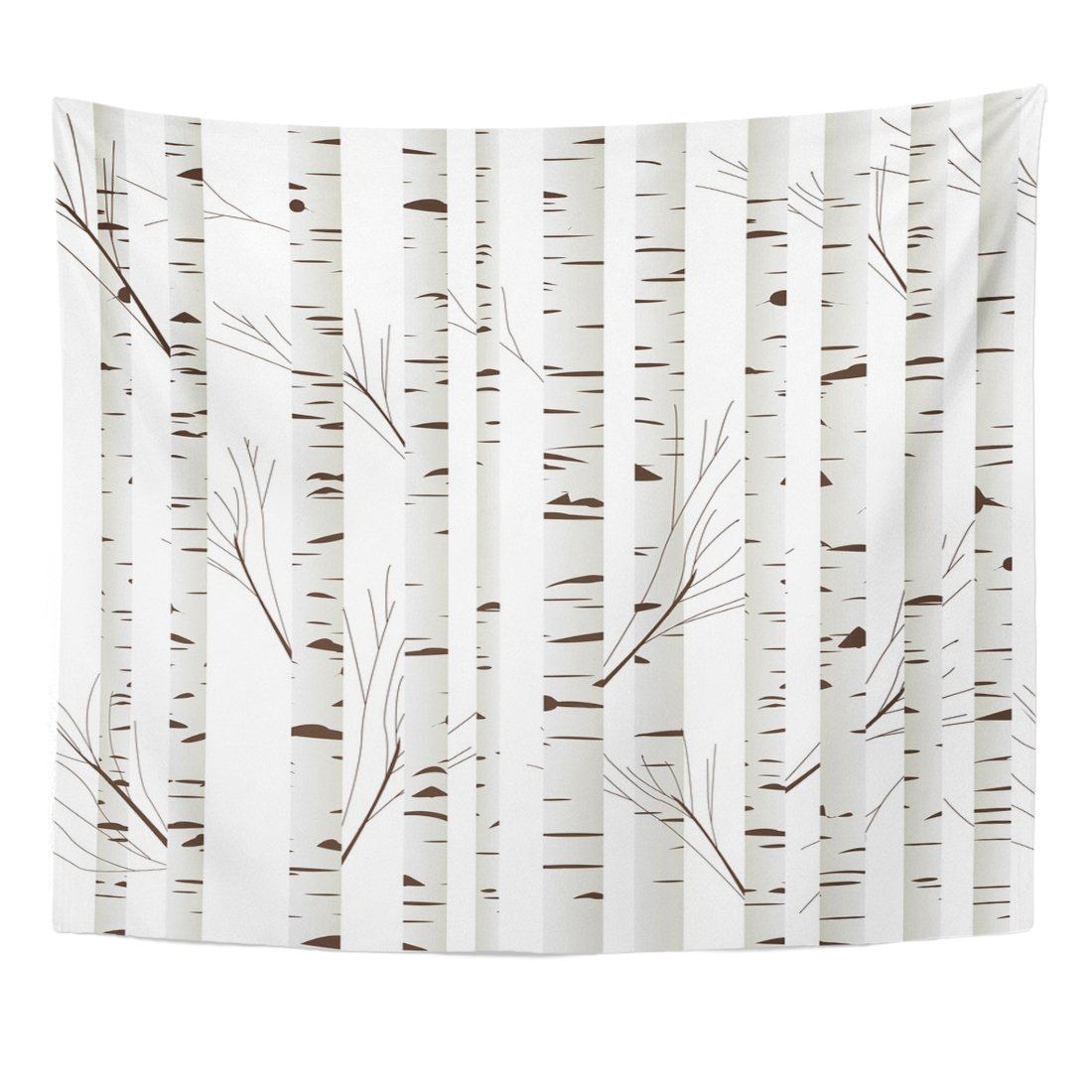 TOMPOP Tapestry Orange Pattern Birch Wood Trees Over Branches White Abstract Home Decor Wall Hanging for Living Room Bedroom Dorm 50x60 Inches
