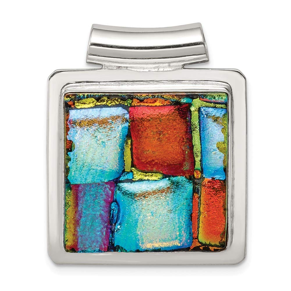 Sterling Silver Jewelry Pendants /& Charms 29 mm 34 mm Multicolor Dichroic GlaSquare Pendant
