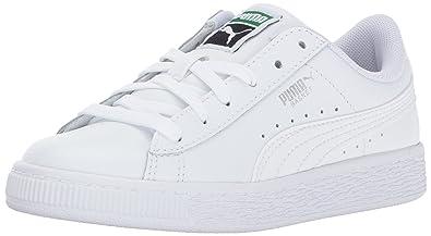PUMA Unisex-Kids Basket Classic LFS Sneaker, White White, 10.5 M US Little