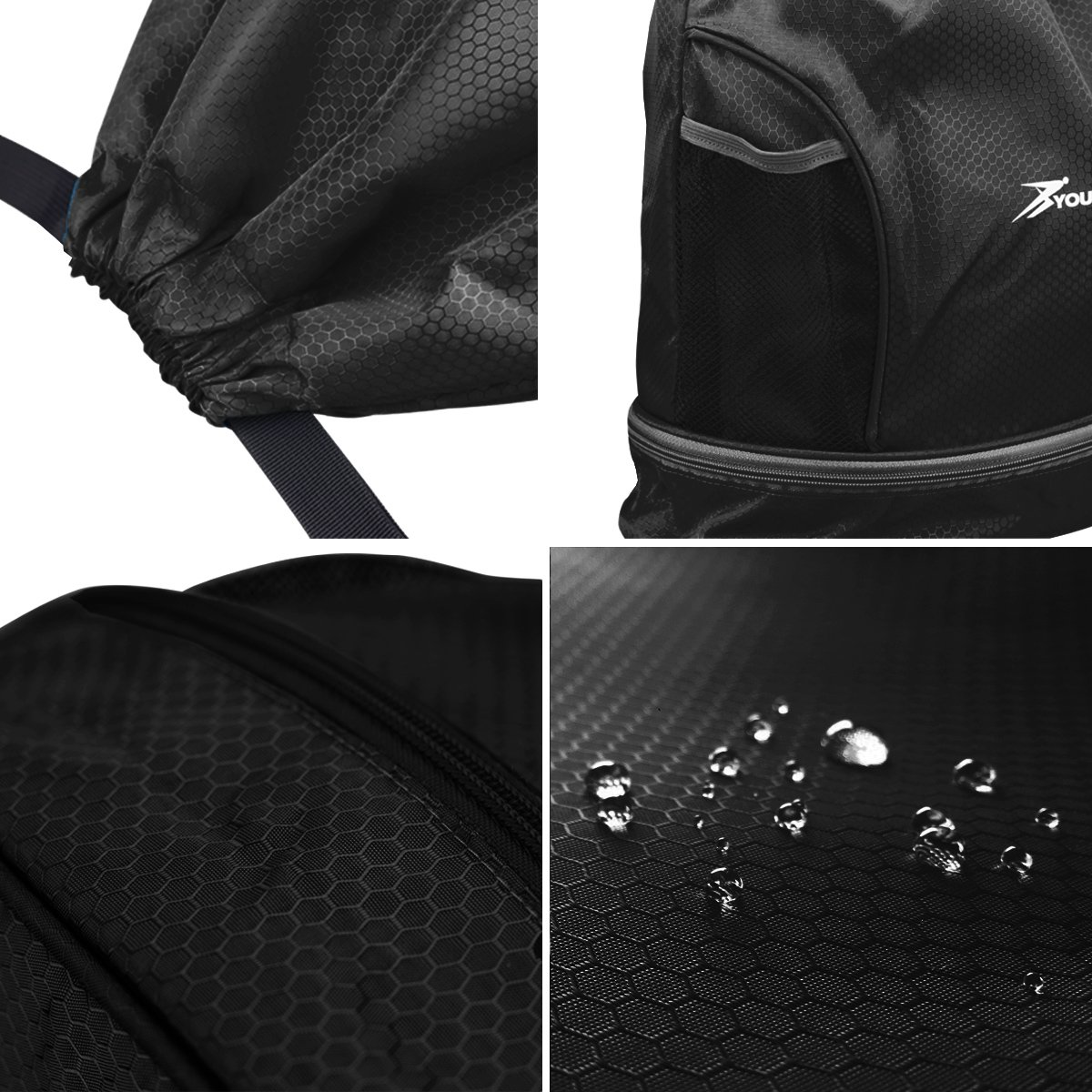 YOULERBU Gym Drawstring Bag, Sports Backpack with Shoe Compartment, Swim Bag with Wet Dry Compartments for Women Men (Black) by YOULERBU (Image #5)