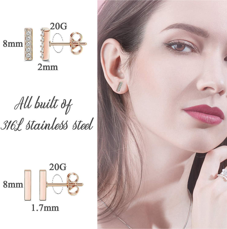 Milacolato Hoop Huggie Boucles doreilles Minimaliste Cuff Mini Bar Stud boucles doreilles Zircon cubique petite oreille Piercing Set pour les femmes