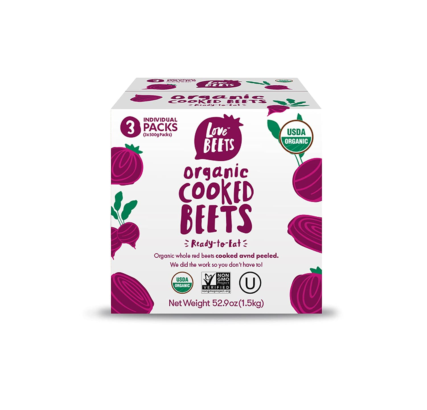 Love Beets Organic Cooked Beets | USA Grown Beets, Rich in Antioxidants, Nitric Oxide Boosting, No Added Sugar, No Preservatives or Coloring, USDA Organic, Non-GMO, Kosher, 500g (3 pack)