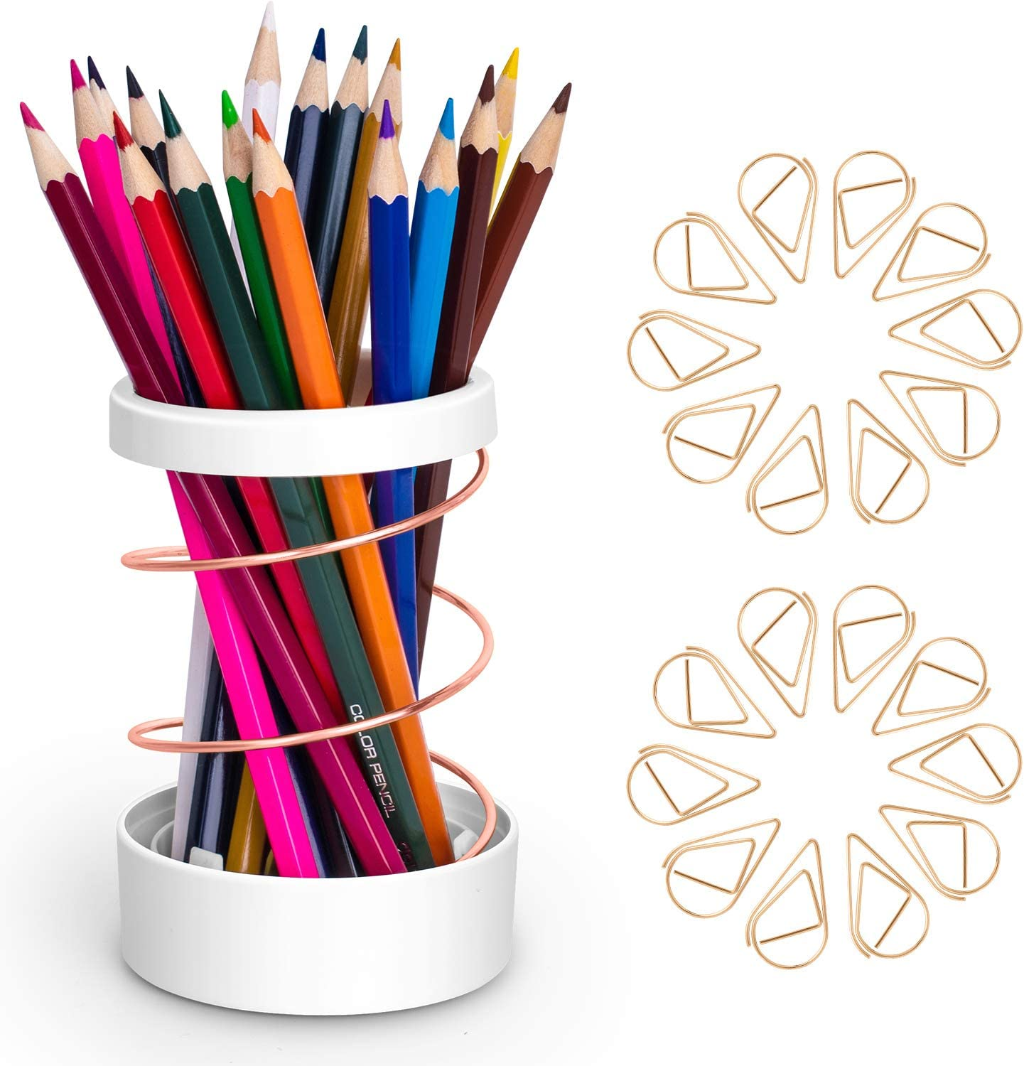 Pencil Pen Holder for Desk - Cute Rose Gold Pen Stand Cup Pencil Organizer,Makeup Brush Holders,Modern Home Office Desk Decor Supplies Gifts for Women Men | Scalable Spring Steel Wire