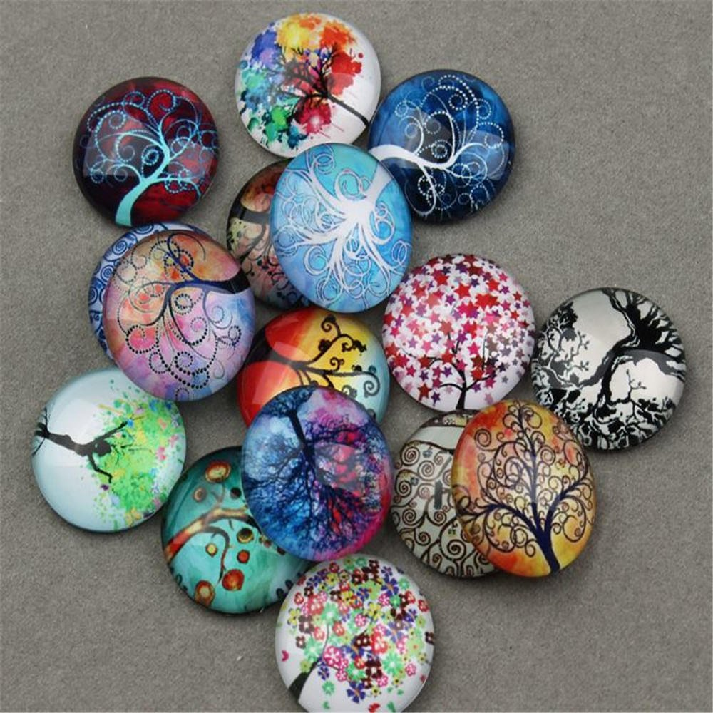Random Color Carykon 25 PCS Glass Dome Cabochons Half Round Flat Backed Tree of Life 25mm Diameter