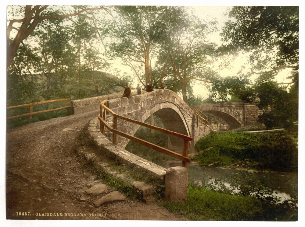1890s photo Whitby, Glaisdale, Beggars' Bridge, Yorkshire, England. photograph g Beggars' Bridge Vintage History