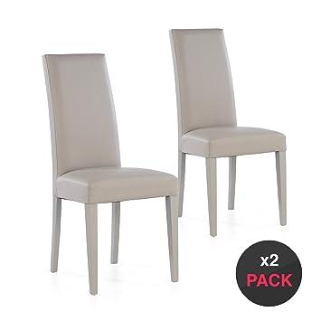 dicoro Pack 2 sillas tapizadas Nancy 4 Patas Madera (Beige, 47)