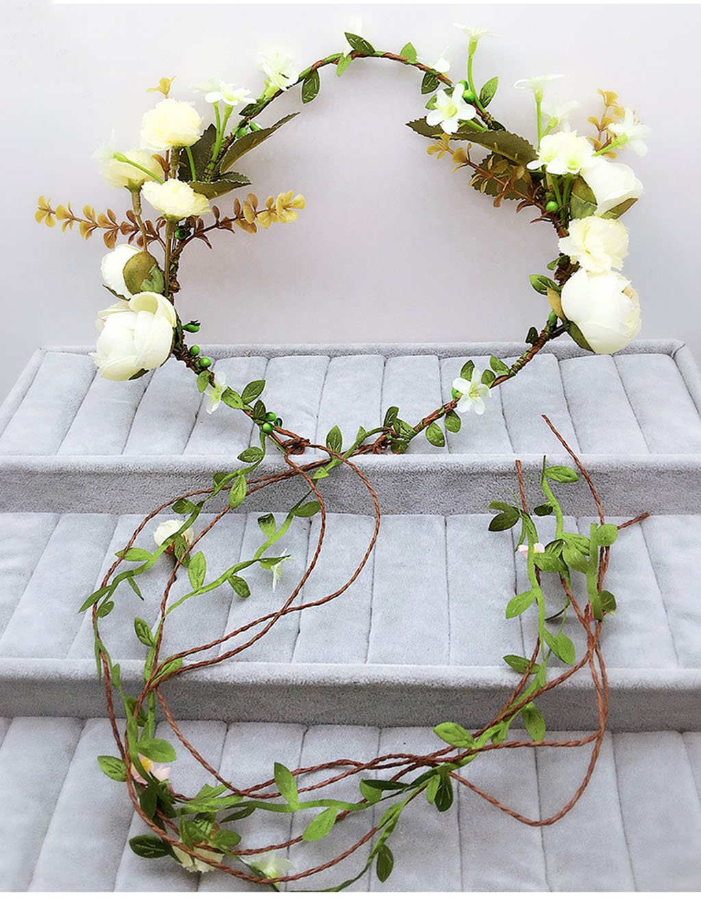 Wreath Flower, Headband Flower Garland Handmade Wedding Bride Party Ribbon Headband Wristband Hairband Beige (Color : A)