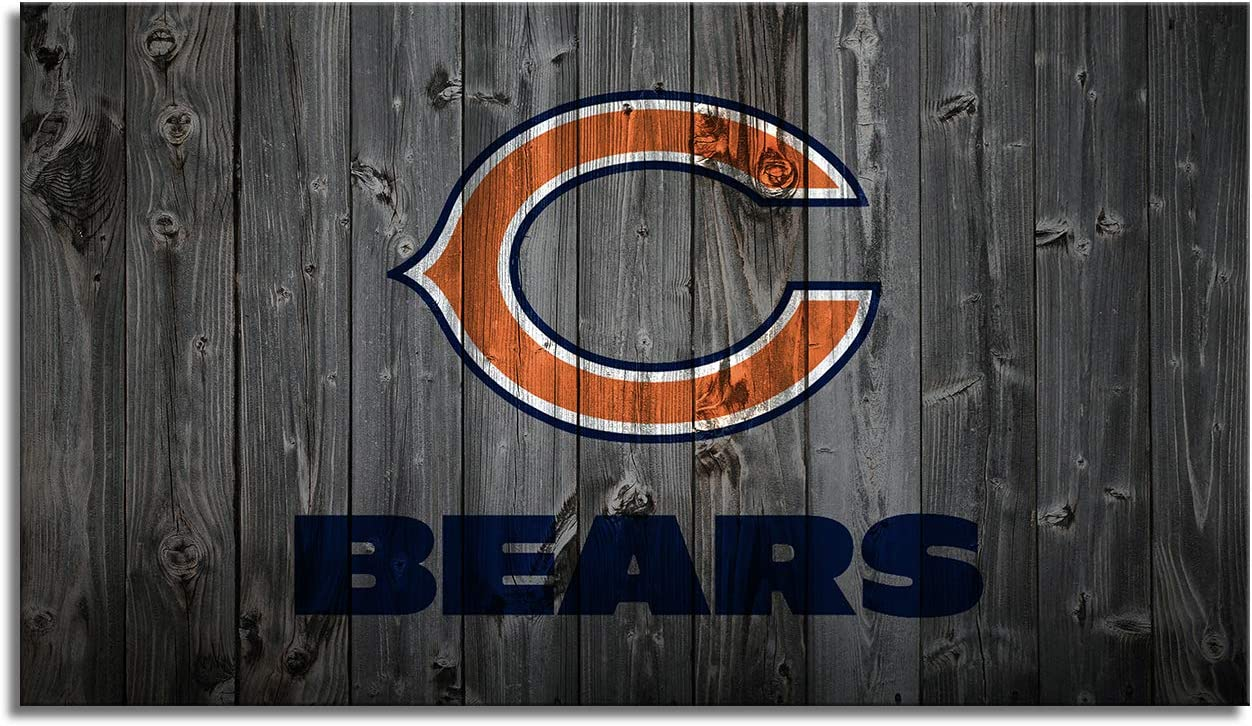 MIAUEN Chicago Bears Wall Art Canvas Prints Pictures Sports Football Poster Framed Home Decor Decoration Living Room Bedroom Game Room Paintings Ready to Hang(28''Wx16''H)