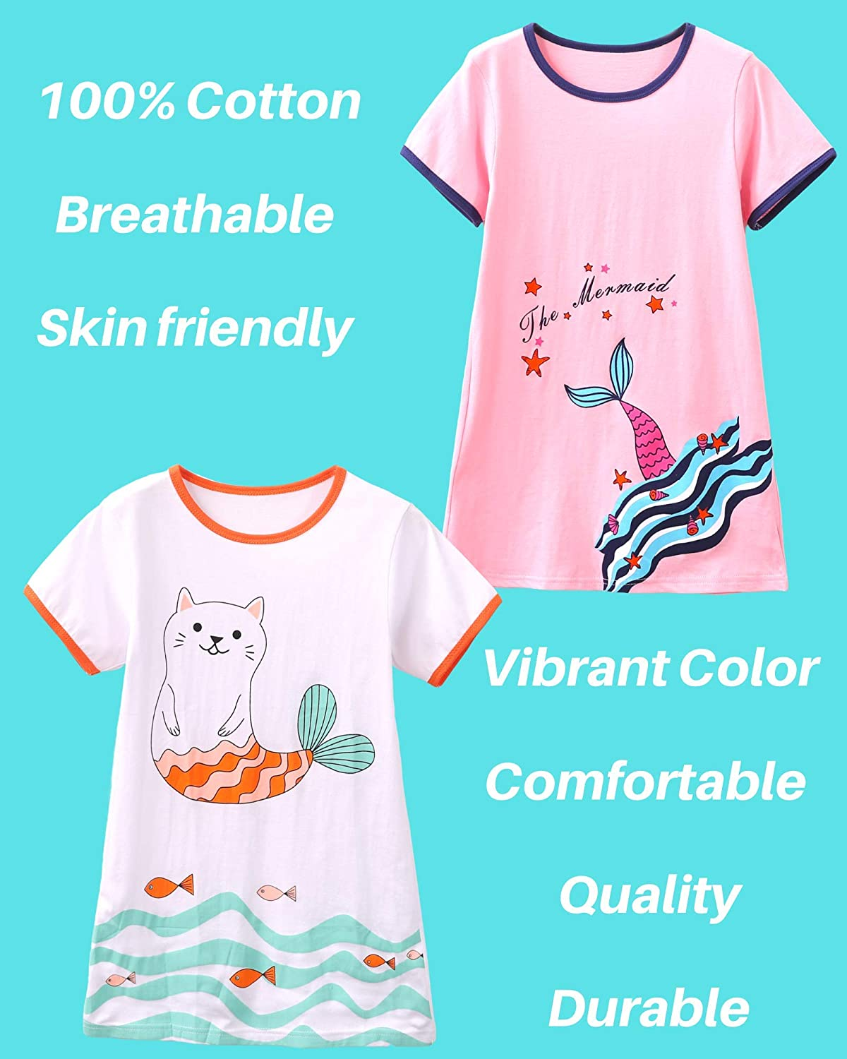 HH Family Nightgowns for Girls Mermaid Unicorn Cotton Pajama Dress Sleepwear 2-Pack