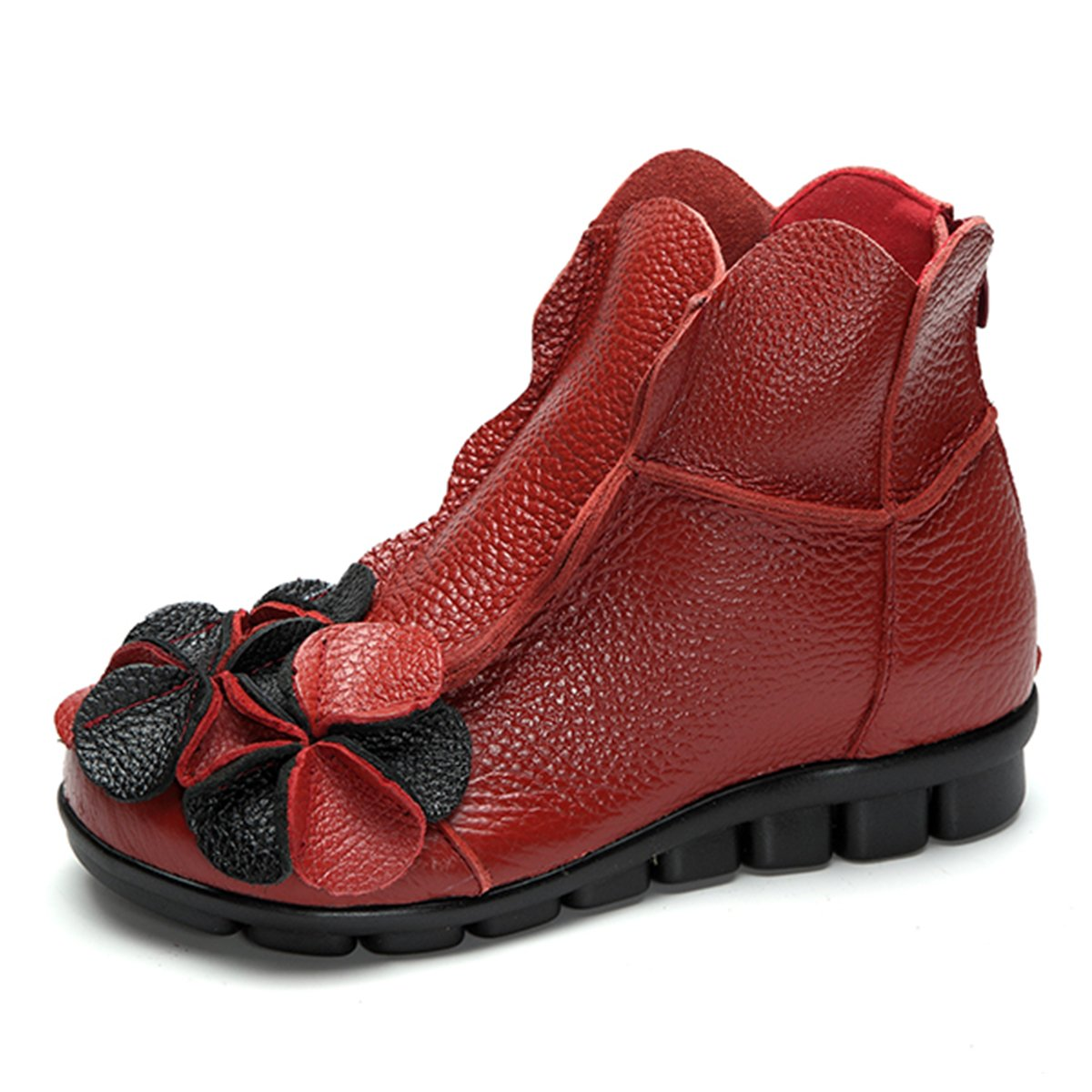 Socofy Inverno Donne Stivali All'aperto Neve Donna Stivaletti Stringati in Pelle Peluche Boots Caldo Pelle Stivaletto Antiscivolo Scarponi Piatto Scarpe Rosso (Fur-lining)