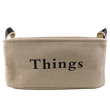 tafci así Holding forma cestas de yute – Baúl para juguetes cajas de almacenamiento organizador –