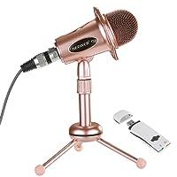 Neewer Mircrophone à Condensateur d'Ordinateur(Windows,Mac) pour Enregistrement,Podcasting,Facebook,Skype,avec Câble Audio,Support et USB 2.0 Adaptateur Carte Son Externe (Or Rose)