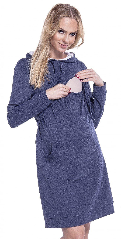 Happy Mama. Femme Robe Sweat-Shirt à Capuche Allaitement Maternité Couches. 208p nursingdress_208