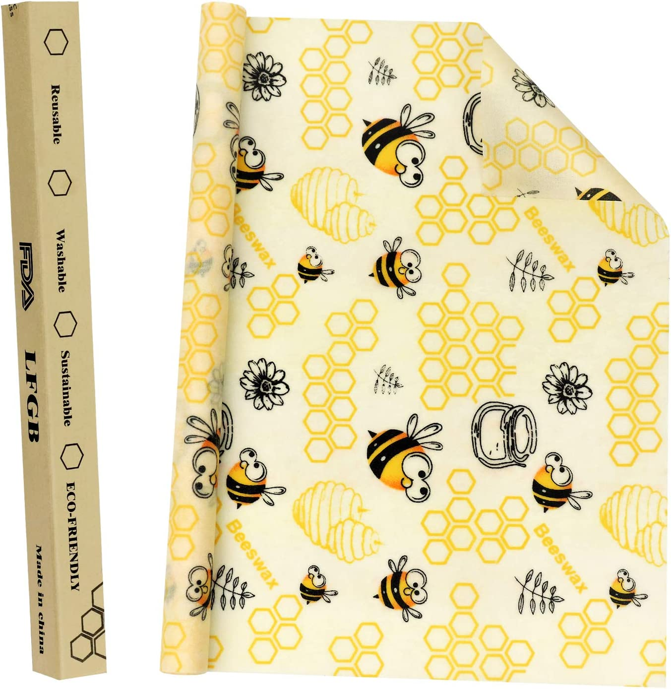 """Beeswax Food Wrap, Reusable Beeswax Wraps Roll 1 Metre (13""""×39"""") Organic Food Storage Nature Beeswax Wrap for Sandwich,Bread,Cheese,Fruit Eco Friendly by AK KYC"""
