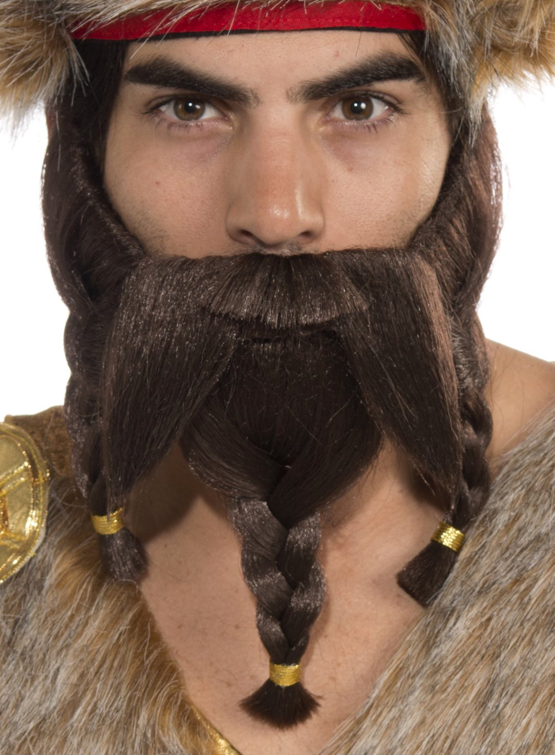 Forum Novelties Men's Novelty Braided Warrior Beard, Brown, One Size