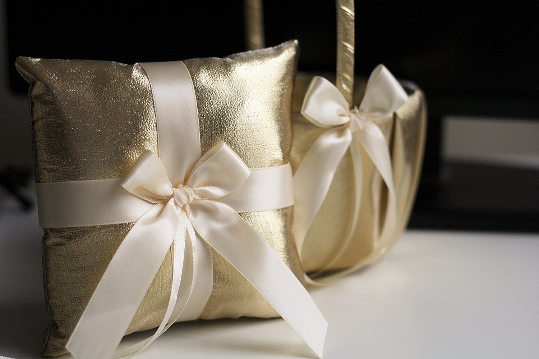 Amazon gold wedding flower girl basket and ring bearer pillow amazon gold wedding flower girl basket and ring bearer pillow set ivory gold wedding accessories handmade wedding ring pillow basket set alex izmirmasajfo