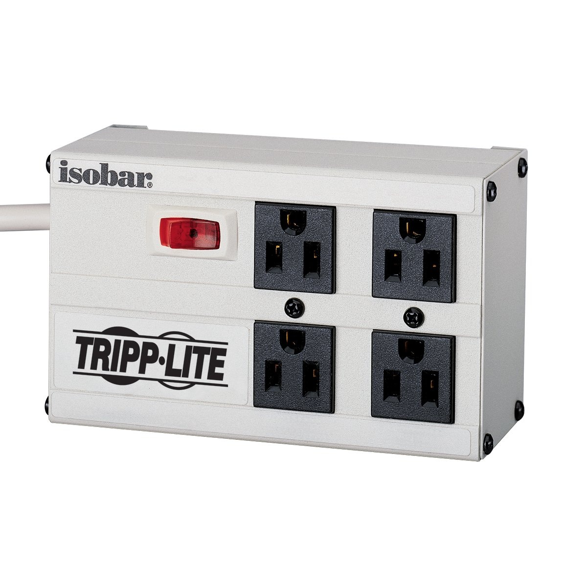 Tripp Lite Isobar 4 Outlet Surge Protector Power Strip, 6ft. Cord, Right Angle Plug, 3330 Joules, Metal, 50K Insurance & (IBAR4-6D)