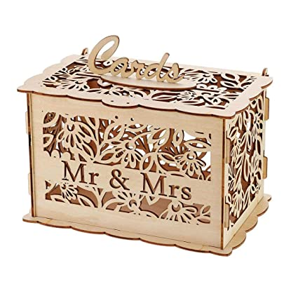 Amazon.com: S/L DIY Wedding Gift Card Box Wooden Money Box ...
