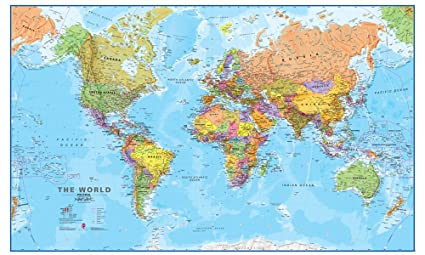 Frameable World Map.Amazon Com Maps International Giant World Map Mega Map Of The