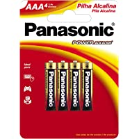 Pilha Alcalina Palito AAA com 4, Panasonic, LR03XAB/4B192, Pacote de 4