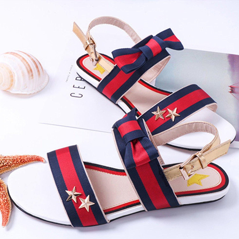 Oasap Women's Open Toe Color Block Bow Flat Heels Sandals, White  EURO39/US8/UK6: Amazon.co.uk: Shoes & Bags